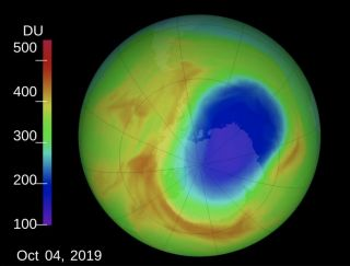 The ozone hole (blue) can be seen here over Antarctica on Oct. 4, 2019.