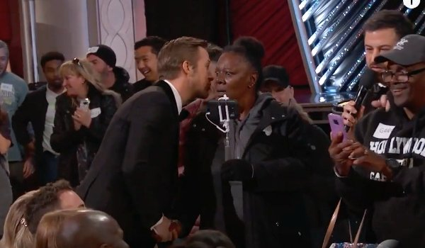 Ryan Gosling Whispers at the Oscars