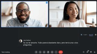 Google Meet call showing live caption translation