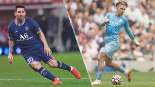 Lionel Messi of PSG and Jack Grealish of Manchester City