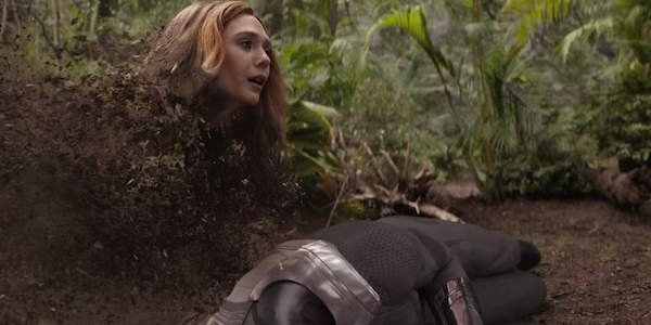 Scarlet Witch turning to dust next to Vision's corpse