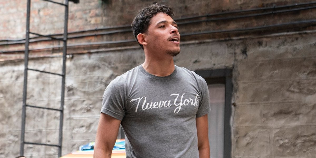 Usnavi (Anthony Ramos) sings on the streets of Washington Heights in 'In The Heights'