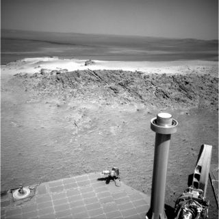 "NASA's Mars Exploration Rover Opportunity used its navigation camera to capture this view of a northward-facing outcrop, ""Greeley Haven,"" where the rover will work during its fifth Martian winter."
