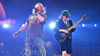 Axl Rose and Angus Young onstage during AC/DC's Rock Or Bust tour