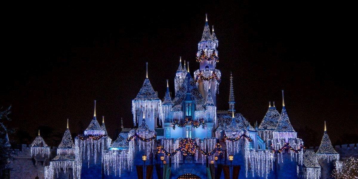 Sleeping Beauty castle at night in Disneyland
