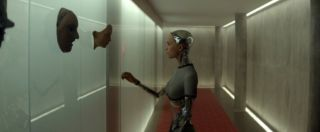 "Still of Alicia Vikander in the sci-fi/psychological thriller ""Ex Machina."""