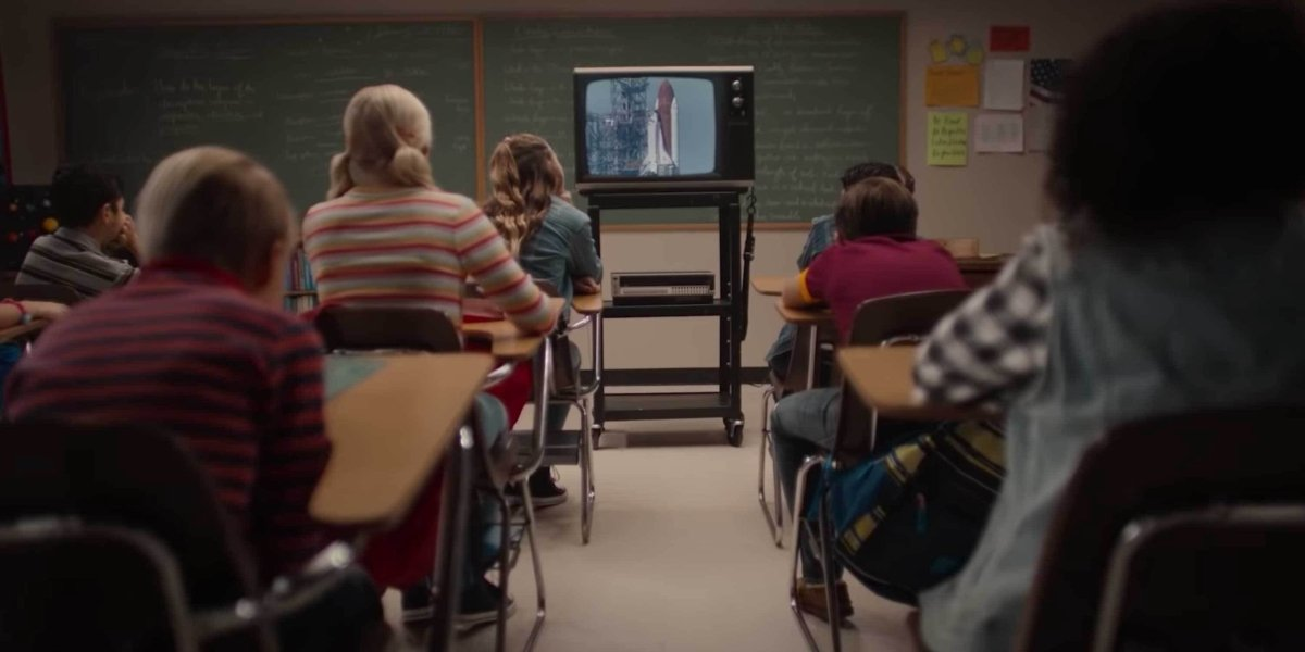 A dramatization of students watching the Challenge launch in Challenger: The Final Flight