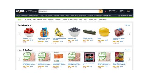 Amazon Fresh review: Image shows produce available on the website.