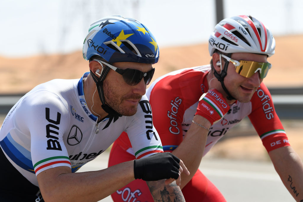 AL AIN UNITED ARAB EMIRATES FEBRUARY 23 Giacomo Nizzolo of Italy and Team Qhubeka Assos Elia Viviani of Italy and Team Cofidis during the 3rd UAE Tour 2021 Stage 3 a 166km stage from Al Ain Strata Manufacturing to Jebel Hafeet 1025m UAETour on February 23 2021 in Al Ain United Arab Emirates Photo by Tim de WaeleGetty Images