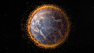 An artist's concept of the orbital debris field around Earth, based on real data from the NASA Orbital Debris Program Office.
