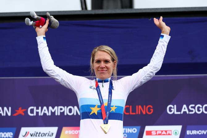 Ellen van Dijk with her third European champion's jersey
