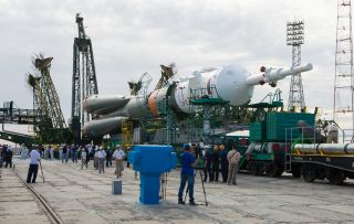 Soyuz Rocket Rolls out to the Pad