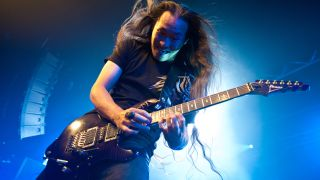 Herman Li of Dragonforce performs on stage during their ?The Power Within? world tour at Rock City on October 3, 2012 in Nottingham, United Kingdom