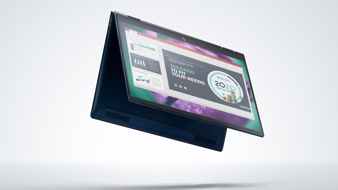 Image of the HP Elite Dragonfly G2 laptop in tent mode