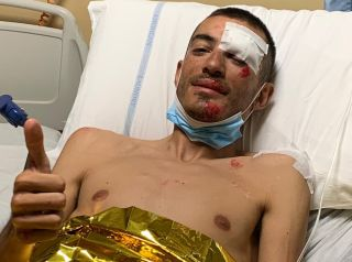 Luca Wackermann in hospital after his crash at the 2020 Giro d'Italia