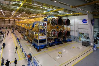 All four RS-25 rocket engines are at the first core stage of the Megarocket NASA's Space Launch System installed at the Michoud Assembly Facility in New Orleans, Louisiana.