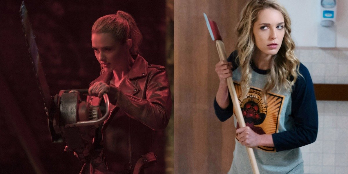 Kathryn Newton and Jessica Rothe in Freaky and Happy Death Day