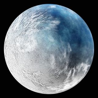 Artistic conception of a frozen planet. If a planet gets cold enough, it could become a snowball world.