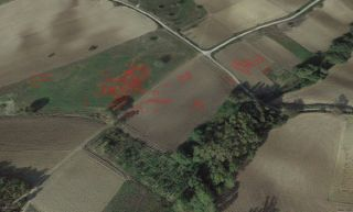 Interpretation of where an ancient sites might be in an aerial drone photo taken in the Le Pianelle area.