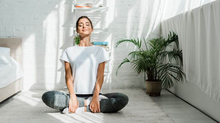 woman sitting cross-legged doing yoga at home, which yoga is best for beginners