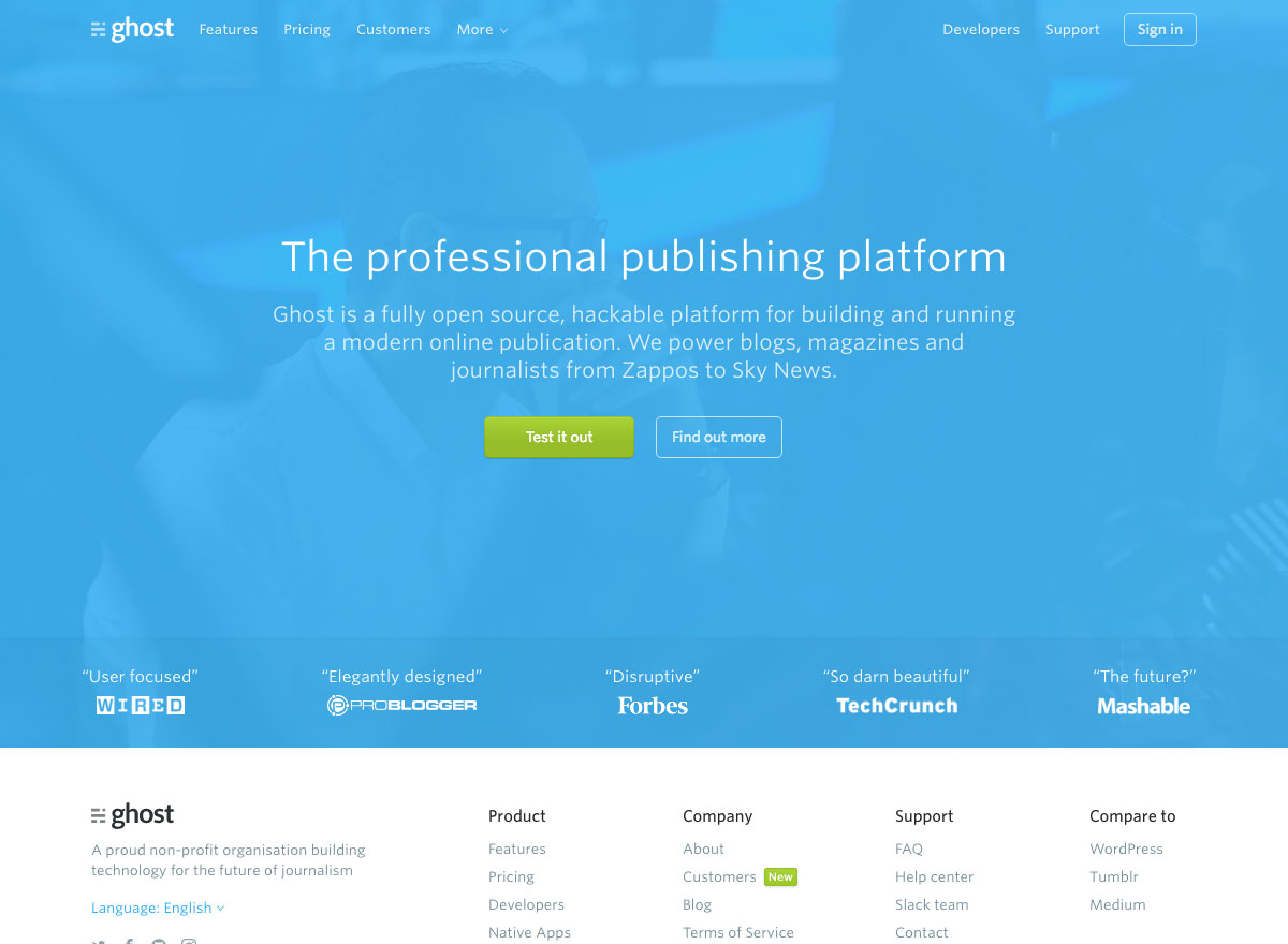Ghost website screenshot says 'The professional publishing platform'