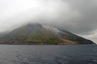 The volcanic islands of Take-shima and Satsuma Iwo-jima (shown here) are the subaerial parts of the northern rim of the Kikai caldera.