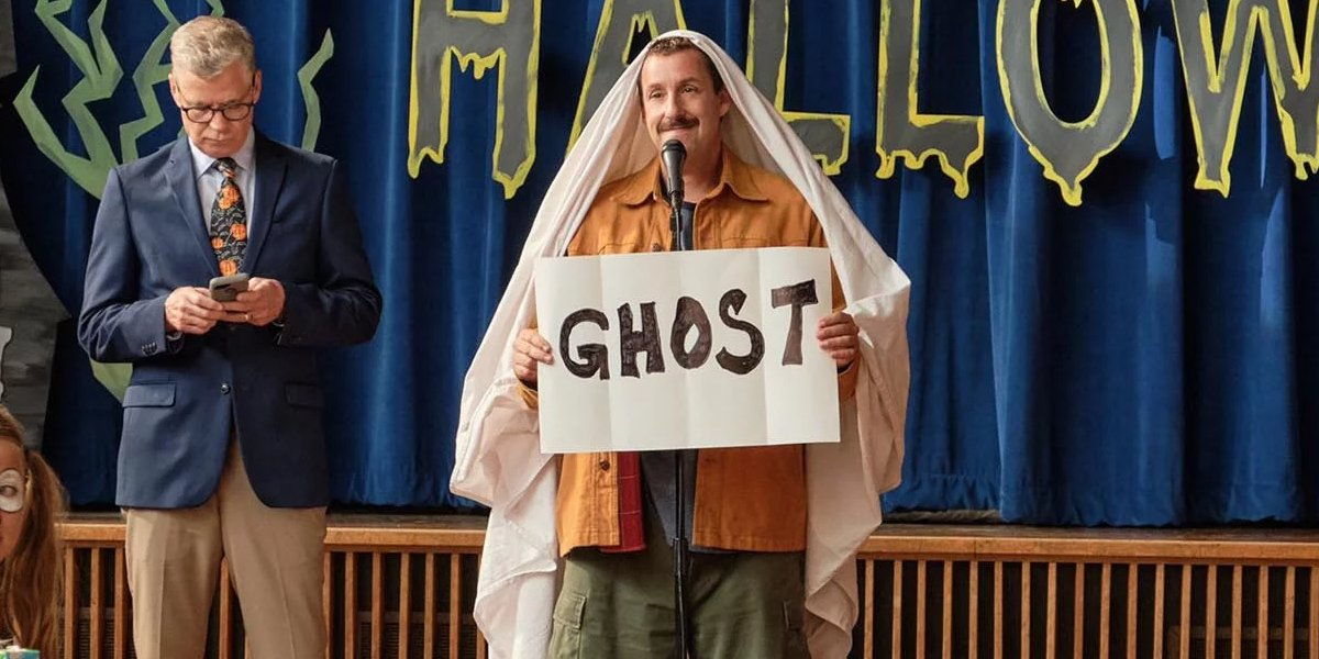 Hubie Halloween Adam Sandler dressed as a rather lazy ghost