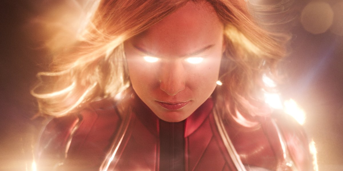 Captain Marvel flying in space