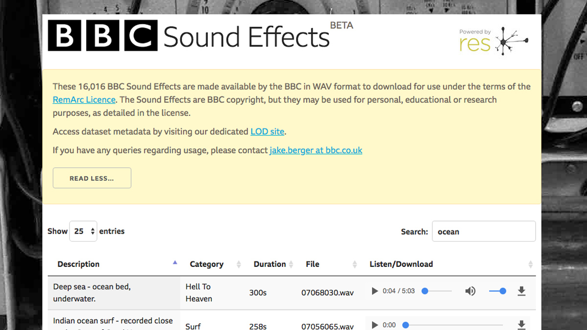 The BBC is letting you download more than 16,000 free sound effect samples from its archive
