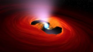 An artist's depiction of a rapidly rotating neutron star, or pulsar, snatching material.
