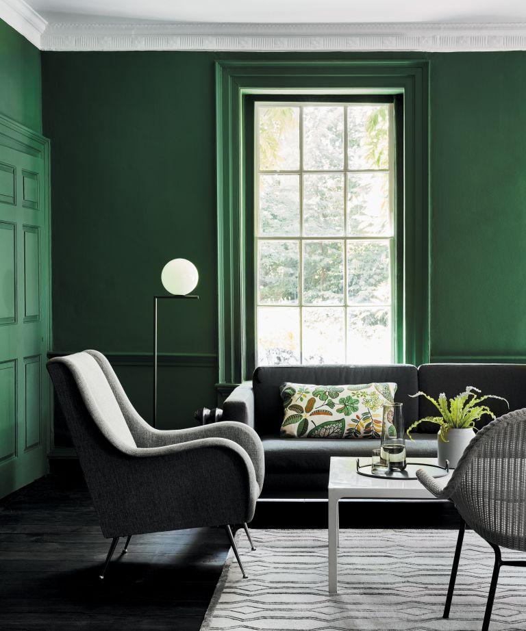 dark green living room in Little Greene paint