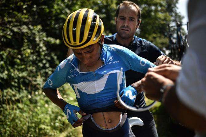 Nairo Quintana (Movistar) gets up after his crash