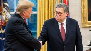 Attorney General William Barr meeting Donald Trump in the White House.