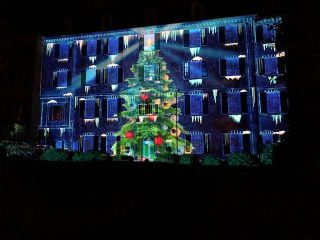 Panasonic's PT-RQ50KU 3-Chip DLP Solid Shine laser projector creates a festive 3D projection mapping spectacular at the Winterthur Museum, Garden, and Library in Wilmington, DE.