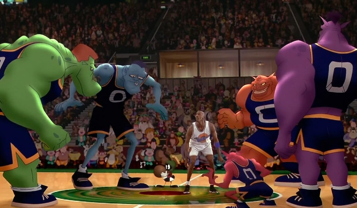 Space Jam Michael Jordan stands in the middle of the Monstars