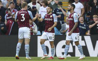 Aston Villa players celebrate a goal | Aston Villa v Everton live stream