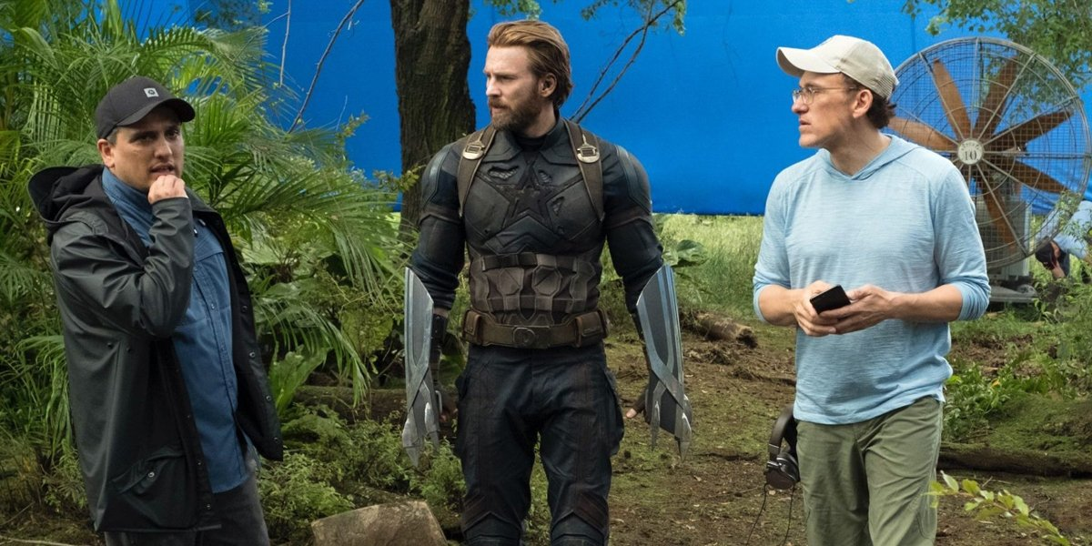 Joe and Anthony Russo with Captain America on the Avengers Infinity War set