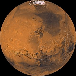Mars as seen from orbit by NASA's Viking mission.