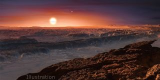 This artist's impression shows a view of the planet Proxima b orbiting the red dwarf star Proxima Centauri, the closest star to the solar system.