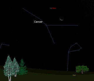 This sky map shows how the moon and Mars will appear at 4 a.m. local time on Sept. 23, 2011, the fall equinox in the Northern Hemisphere, to skywatchers with clear skies at mid-northern latitudes