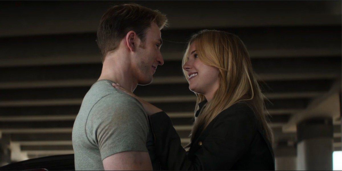 Steve Rogers kissing Sharon Carter in Captain America: Civil War