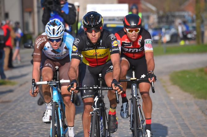 Oliver Naesen (AG2R La Mondiale), Philippe Gilbert (Quick-Step) and Greg Van Avermaet (BMC)