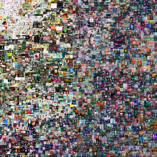 "This image shows the full work ""Everydays: The First 5000 Days"" made by Beeple, and contains 5,000 tiles containing different images."