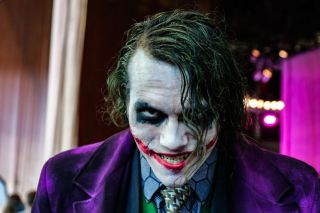 A Joker cosplayer at Epic Con in St. Petersburg, Russia, in 2018.