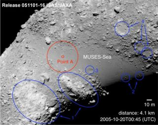 Potential landing spots for the Hayabusa asteroid probe.
