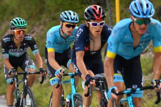 SARNANO ITALY SEPTEMBER 11 Aleksandr Vlasov of Russia and Astana Pro Team Geraint Thomas of The United Kingdom and Team INEOS Grenadiers during the 55th TirrenoAdriatico 2020 Stage 5 a 202km stage from Norcia to SarnanoSassotetto 1335m TirrenAdriatico on September 11 2020 in Sarnano Italy Photo by Justin SetterfieldGetty Images