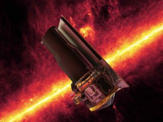An artist's depiction of the Spitzer Space Telescope at work observing our galaxy in infrared.