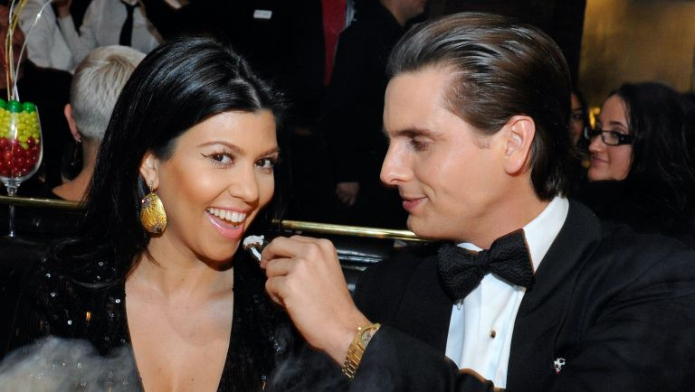 LAS VEGAS, NV - DECEMBER 31: (EXCLUSIVE COVERAGE) Television personalities Scott Disick, Kourtney Kardashian celebrate New Year's Eve at the Sugar Factory American Brasserie at the Paris Las Vegas on December 31, 2011 in Las Vegas, Nevada. (Photo by David Becker/WireImage)