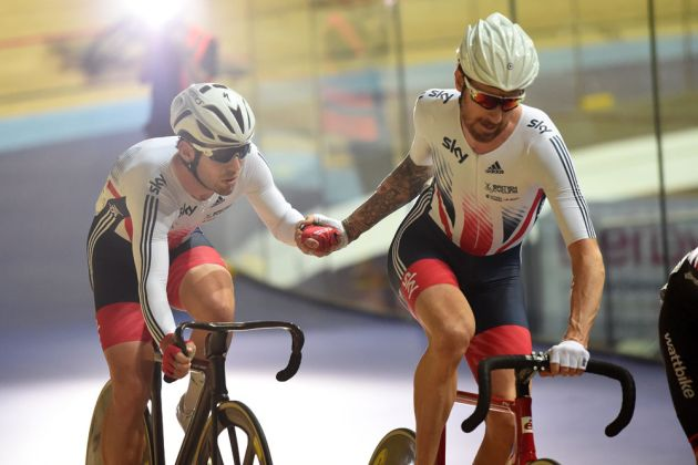 Mark Cavendish and Bradley Wiggins at the Revolution Series in Derby (Andy Jones)