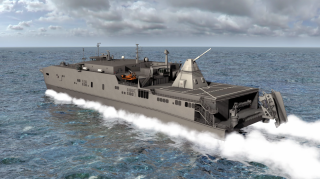 Artist's concept of a railgun aboard a ship.